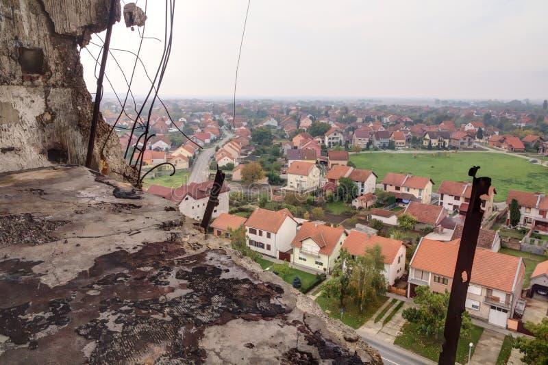 Point de vue de tour d'eau à Vukovar. image libre de droits