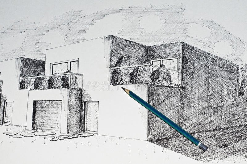 Point de vue moderne de maison d'architecture et un crayon photos stock