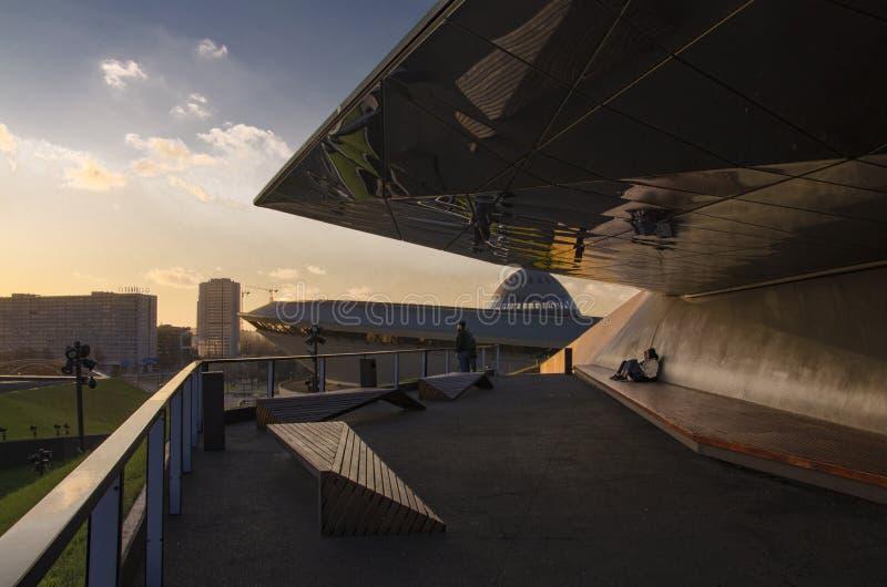 Point de vue sur le toit de MCK à Katowice au coucher du soleil photo stock