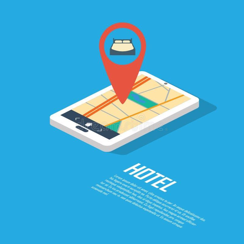 Point et goupille de navigation d'hôtel Généralistes de Smartphone illustration libre de droits