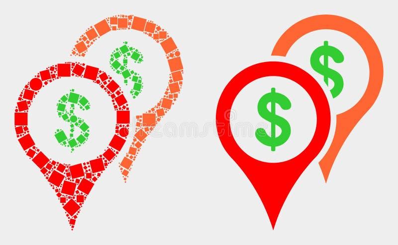 Point et icône plate de marqueurs de carte de banque de vecteur illustration stock