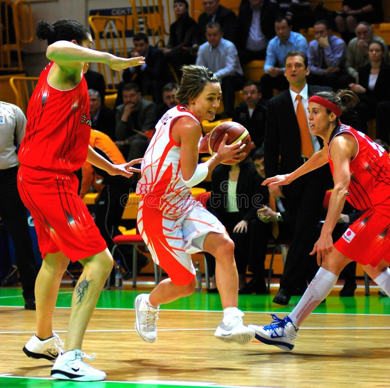 Point guard Dumerc attacks the basket. 01 February 2011 in Ekaterinburg, DIVS, (Russia) match EuroLeague 1/8 final game playoff UMMC vs RIVAS ECOPOLIS (Rivas) royalty free stock photo