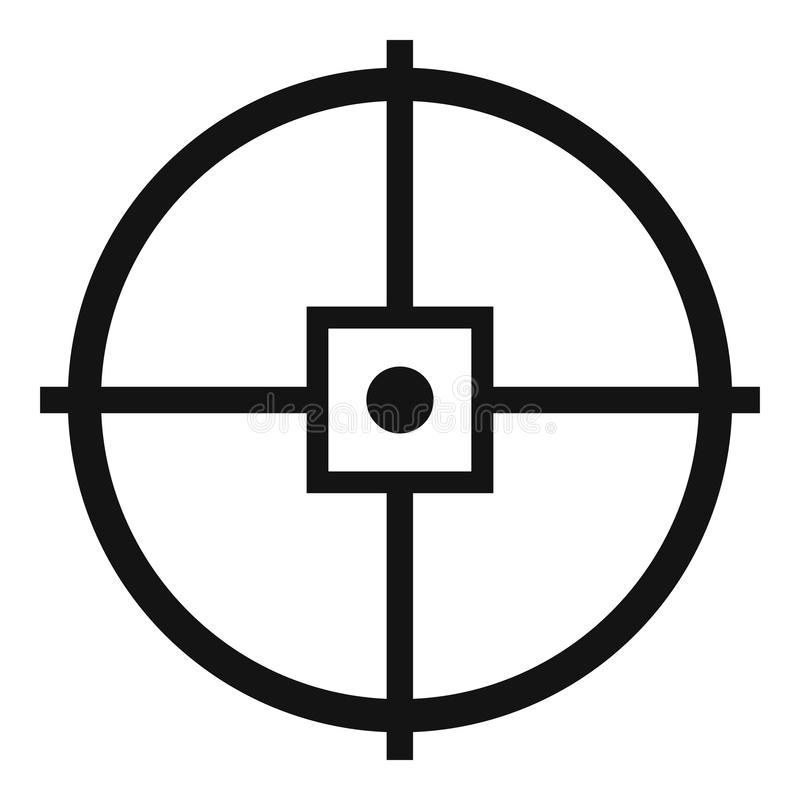 Point gun aim icon, simple style. Point gun aim icon. Simple illustration of point gun aim vector icon for web design isolated on white background vector illustration