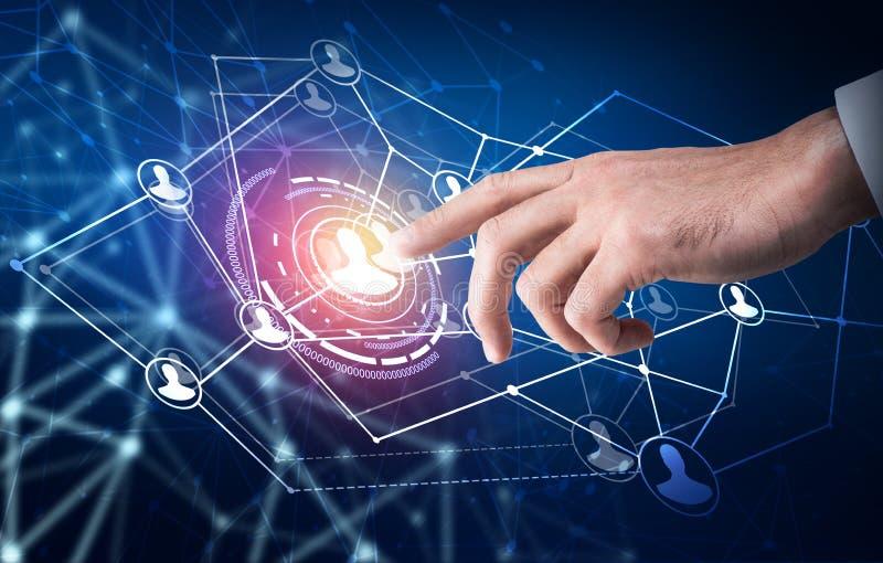 Point humain de main au centre des icônes sociales de réseau image libre de droits