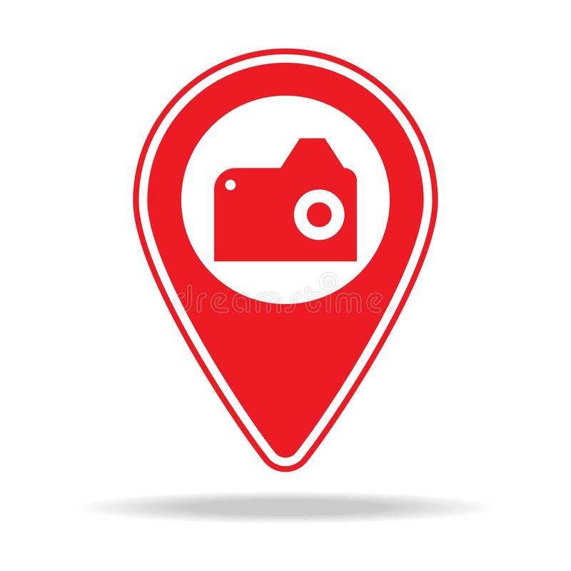 Point of interest map pin icon. Element of warning navigation pin icon for mobile concept and web apps. Detailed point of interest. Map pin icon can be used for royalty free illustration