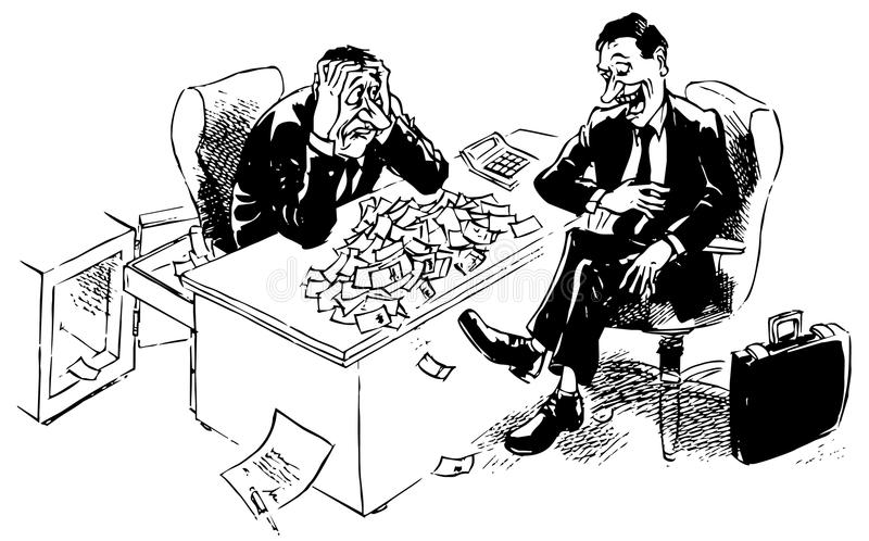 Point at issue. The managers sitting at the table covered with a large number of money discuss the terms and conditions of a contract stock illustration