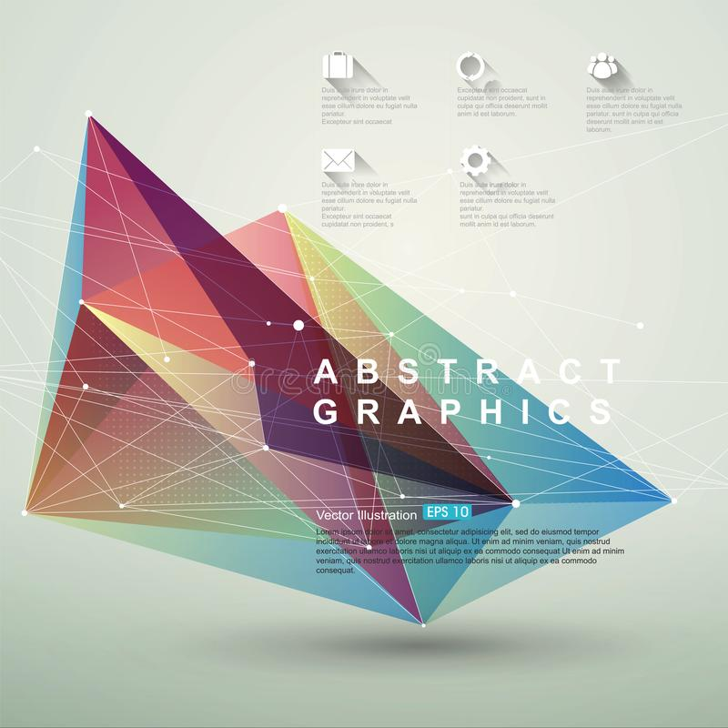 Point, line, surface composition of abstract graphics, infographics,Vector illustration. Point, line, surface composition of abstract graphics, infographics royalty free illustration