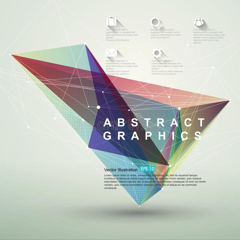 Point, line, surface composition of abstract graphics, infographics,Vector illustration. royalty free illustration
