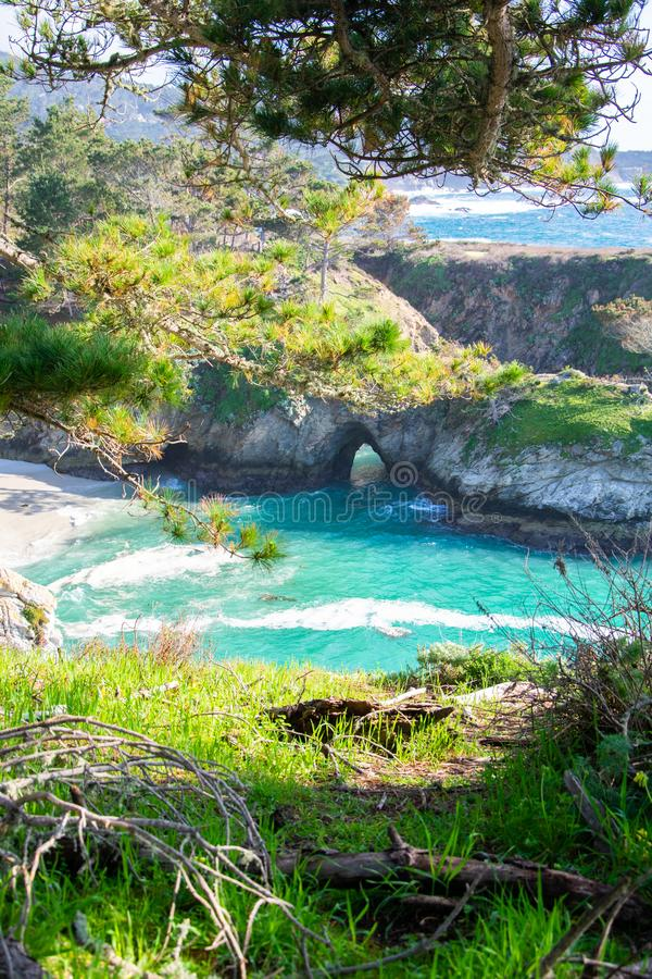 Weston Beach Point Lobos, Carmel-by-the-Sea. Point Lobos is just south of Carmel-by-the-Sea, California, United States, and at the north end of the Big Sur coast stock photo