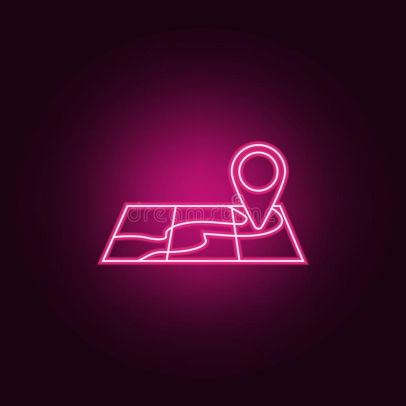 Point on map neon icon. Elements of turizm set. Simple icon for websites, web design, mobile app, info graphics. On dark gradient background vector illustration