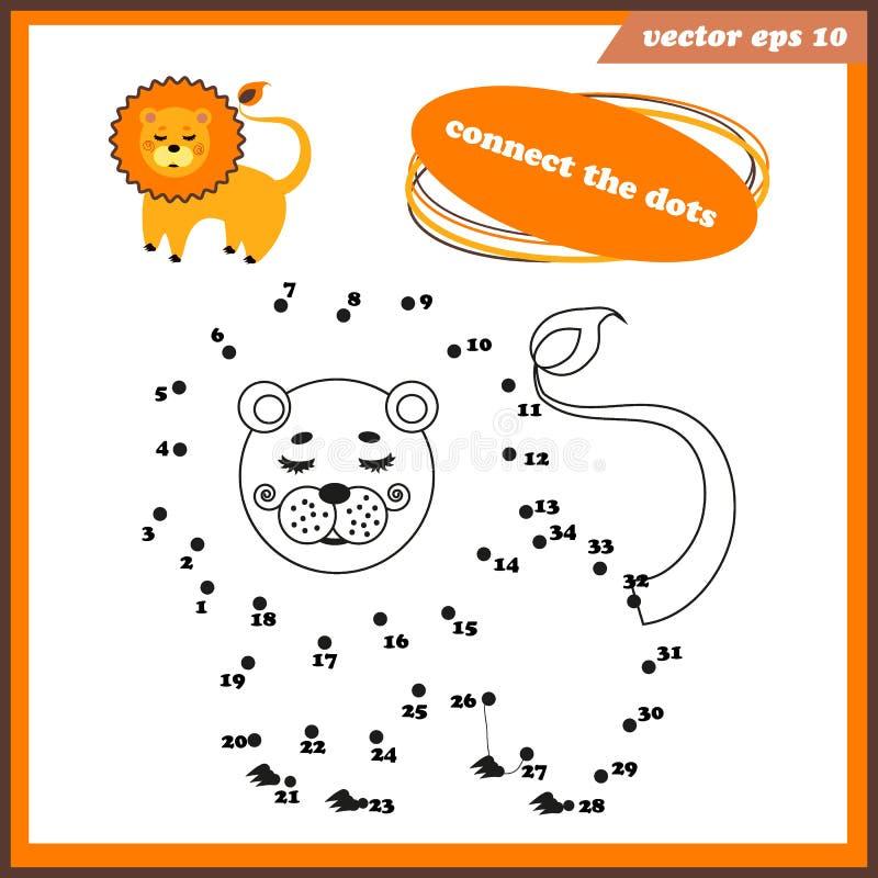Point pour pointiller le jeu drôle pour des enfants avec le lion illustration stock