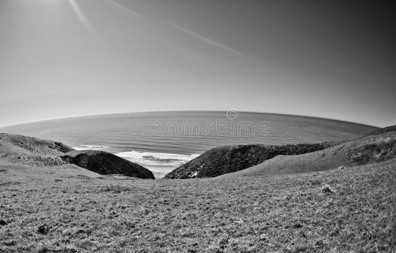 Rounded black white point reyes view panorama. Point Reyes, United States - March 03, 2012 stock photos