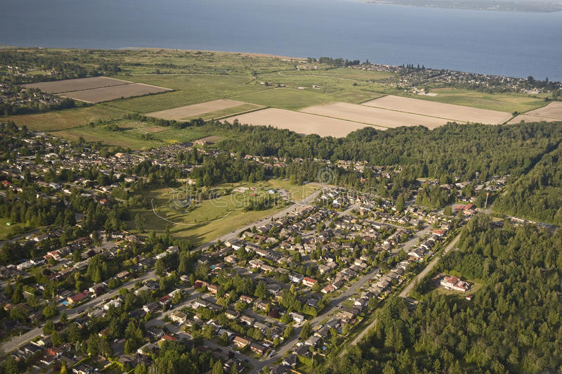 Point Roberts - Tsawwassen, boundary. Point Roberts - village in the peninsula and the Strait of Georgia, USA-Canada Boundary stock photos