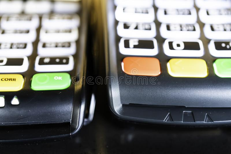 Point of Sale Machine Credit Card Reader Keypad royalty free stock photo