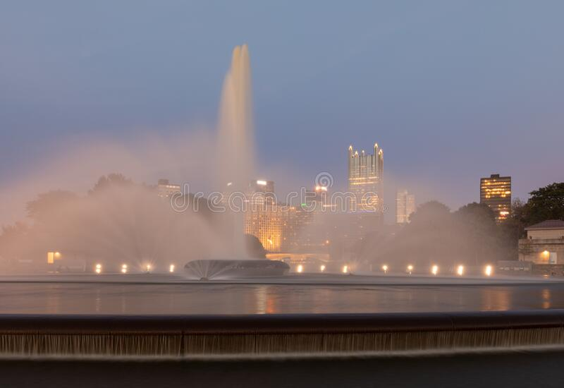 Point State Park Fountain in Pittsburgh, Pennsylvania. Long Exposure Photo shoot and Blurry Water Because of Long Exposure royalty free stock photography