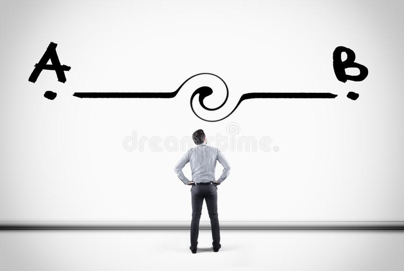 Point a to b. Businessman looking at a line between point a to point b , drawn on a white wall royalty free stock image