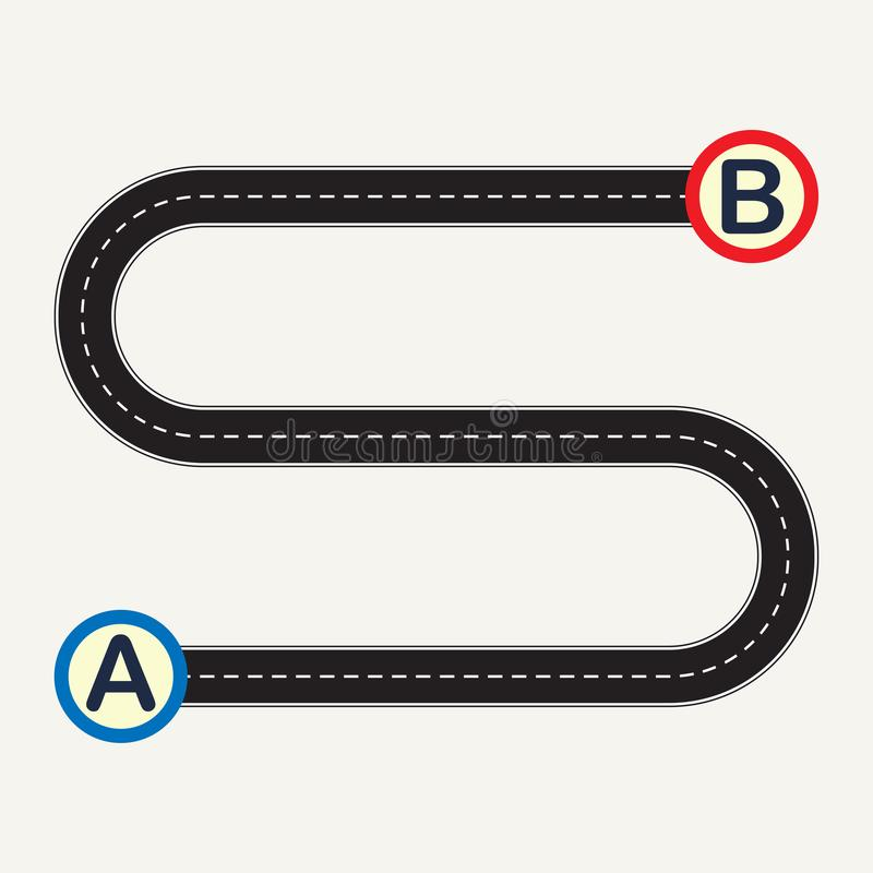 Point A to point B with winding road. Vector illustration. Point A to point B with winding road. Vector illustration royalty free illustration