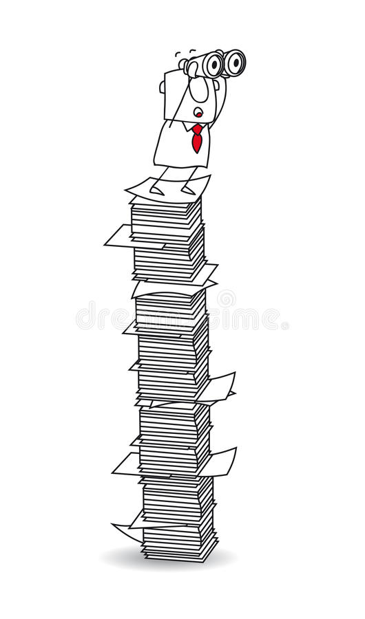 Point of view on a paper stack stock illustration