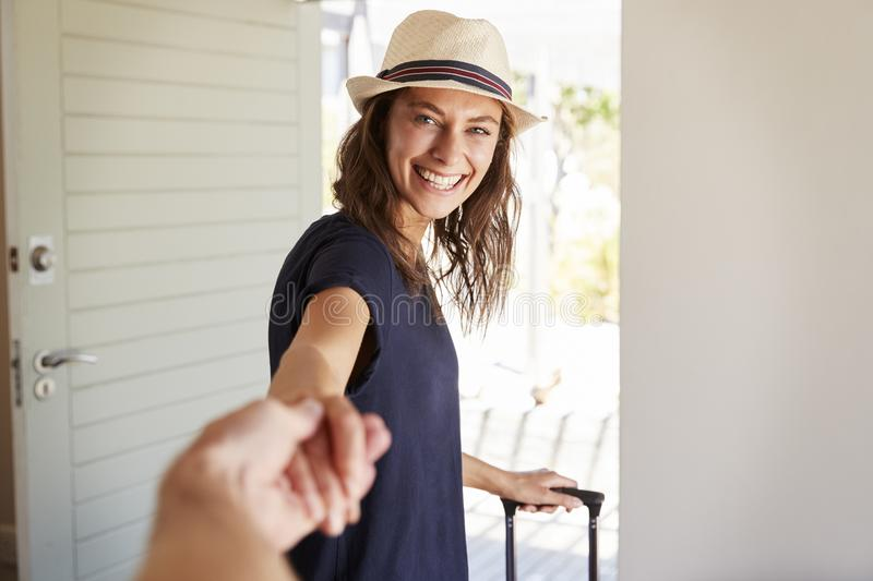 Point Of View Shot Of Couple Leaving Home For Vacation royalty free stock images