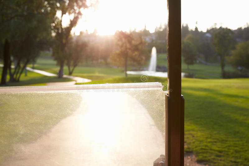 Point Of View Shot Of Golf Course From Buggy royalty free stock photo