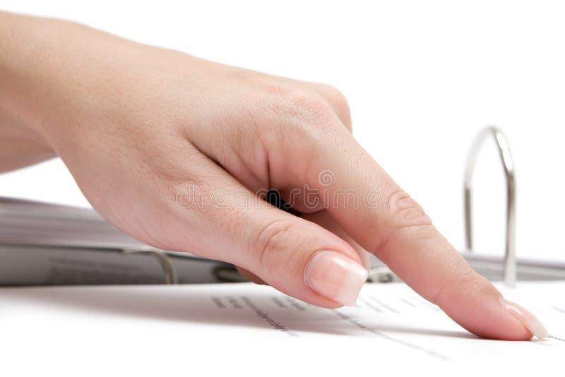 Pointage à un document image libre de droits