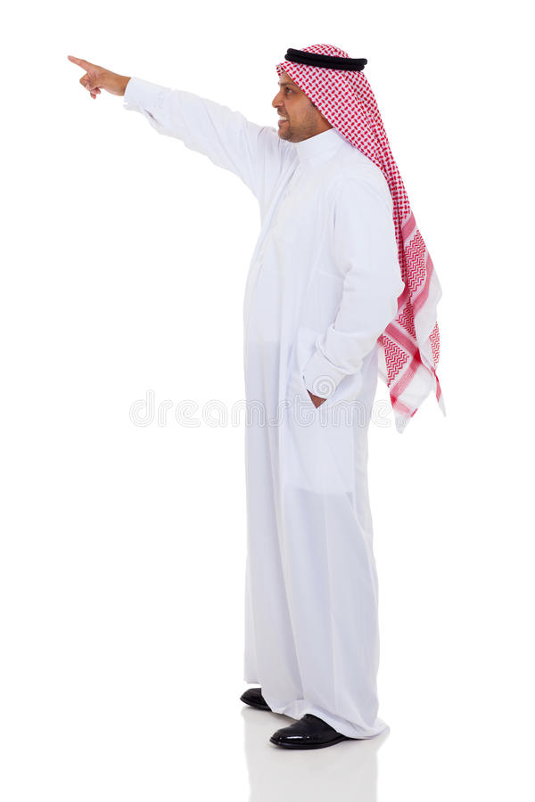 Pointage Arabe d'homme photo stock