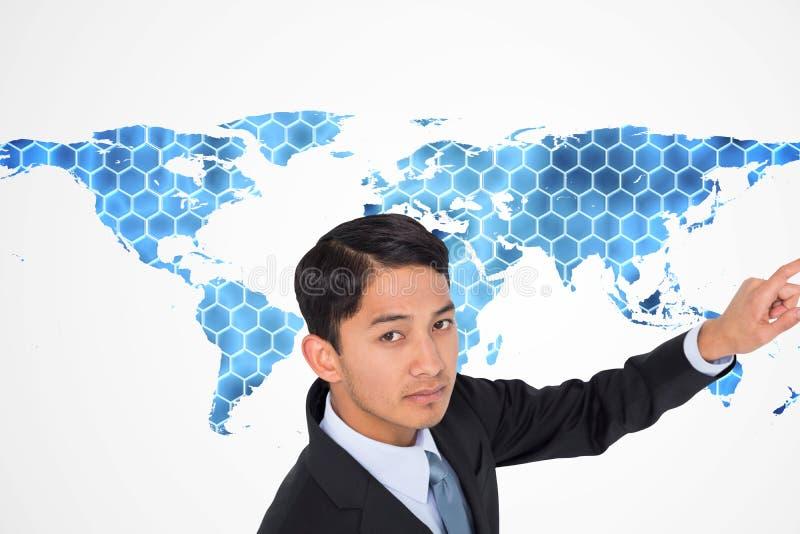 Pointage asiatique austère d'homme d'affaires images libres de droits