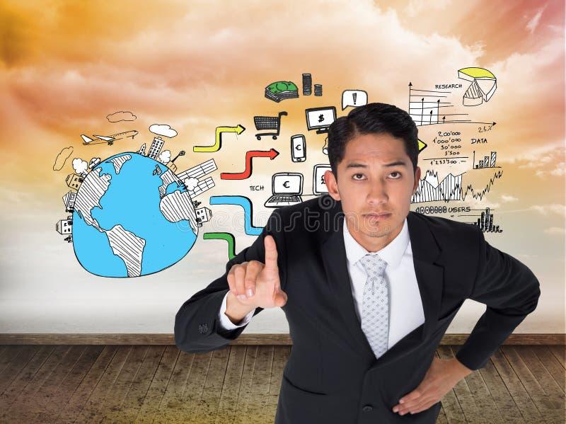 Pointage asiatique austère d'homme d'affaires images stock
