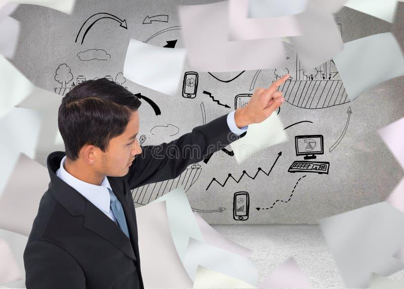 Pointage asiatique austère d'homme d'affaires photos stock