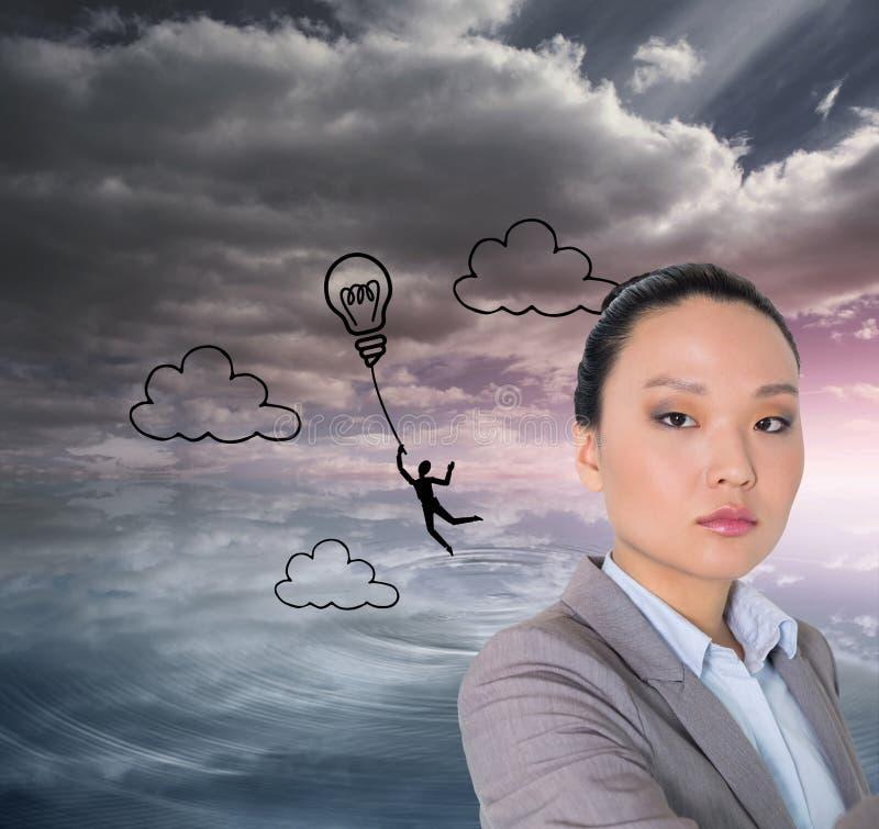 Pointage asiatique austère de femme d'affaires images libres de droits