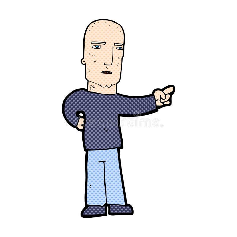 pointage comique de gars dur de bande dessinée illustration libre de droits