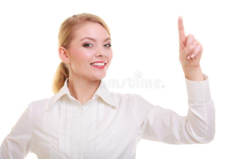 Pointage de bouton de pressing de femme d'affaires d'isolement images libres de droits