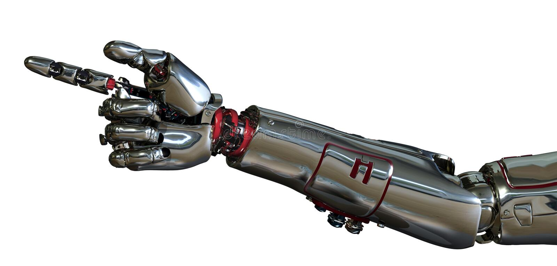 Pointage de bras de robot illustration de vecteur