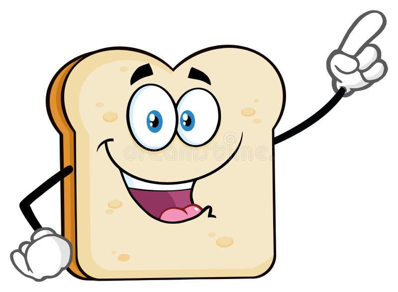 Pointage de caractère de mascotte de bande dessinée de pain découpé en tranches par blanc illustration stock