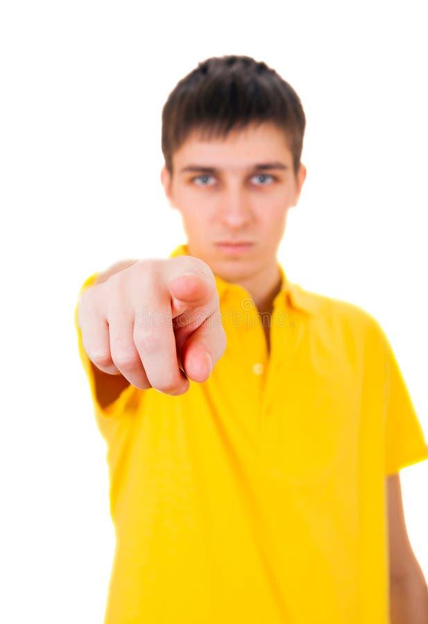 Pointage de jeune homme photo libre de droits