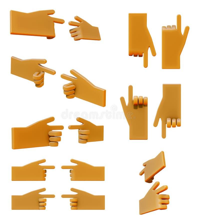 Pointage de l'ensemble d'icône de la main 3d illustration stock