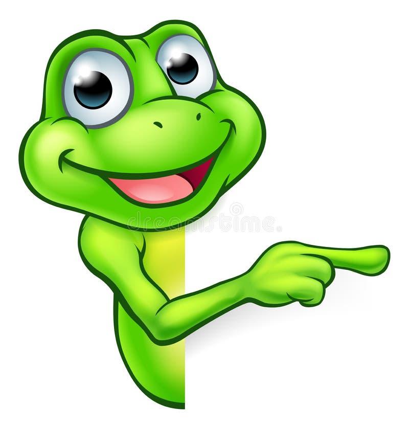 Pointage de la grenouille de bande dessinée illustration de vecteur