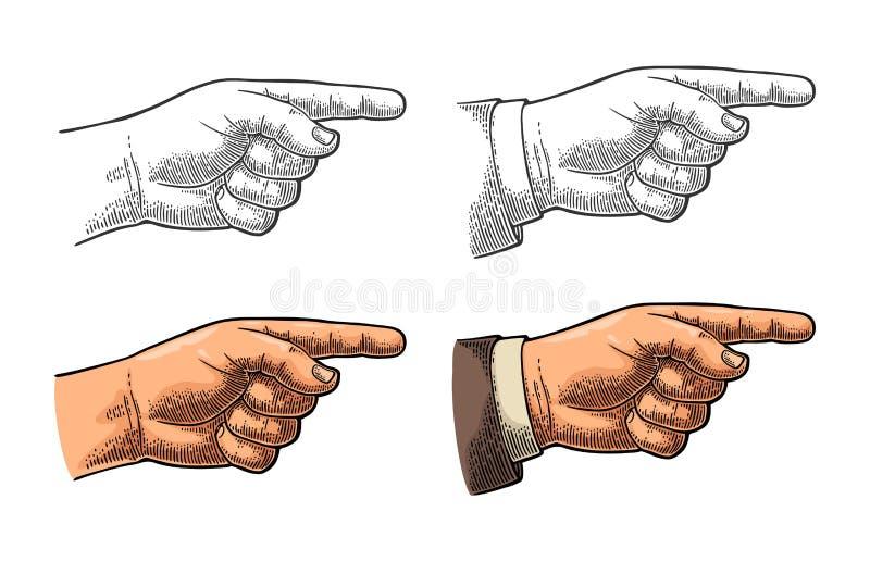 Pointage du doigt Remettez le signe pour le Web, affiche, graphique d'infos illustration de vecteur