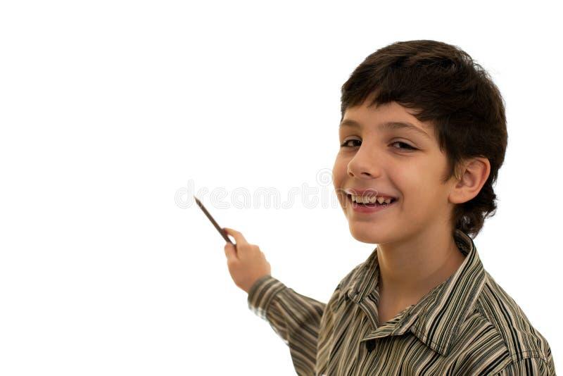 Pointage du garçon photo stock