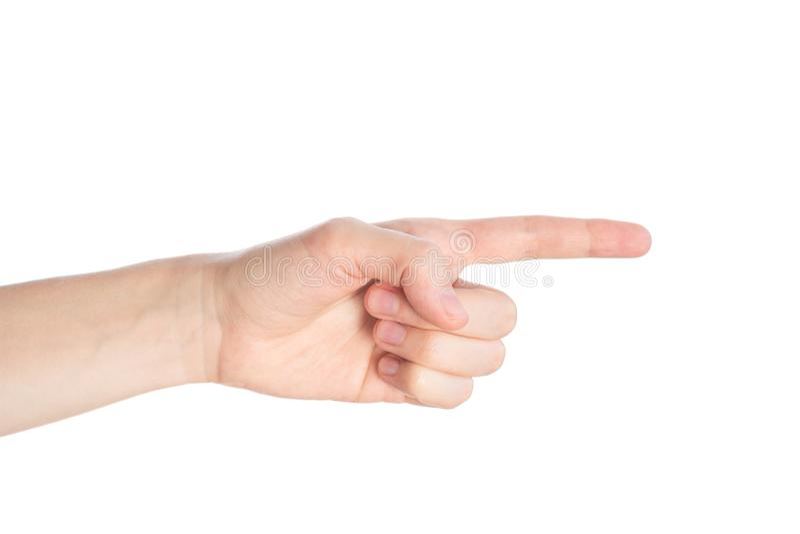 Pointage du geste La main femelle montre l'index sur un isolat blanc de fond photos libres de droits