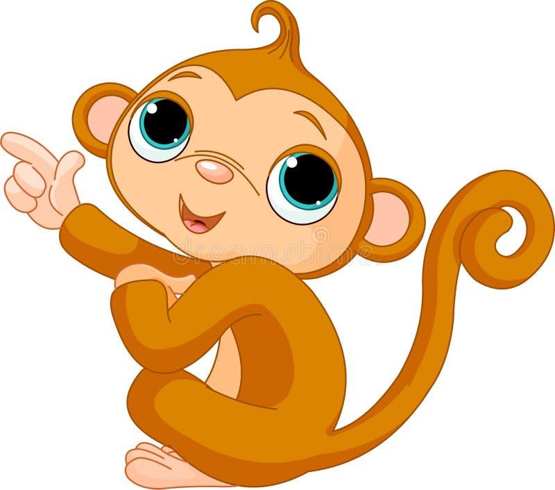 Pointage du singe de chéri illustration libre de droits