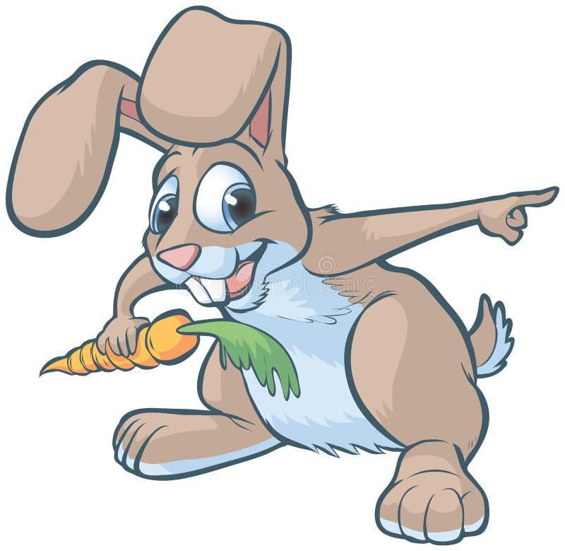 Pointage heureux de lapin de bande dessinée illustration stock