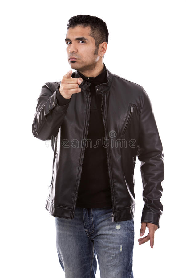 Pointage occasionnel d'homme photos stock
