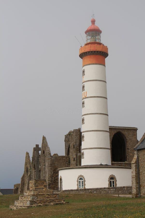 Pointe圣徒马蒂灯塔在布里坦尼 库存照片