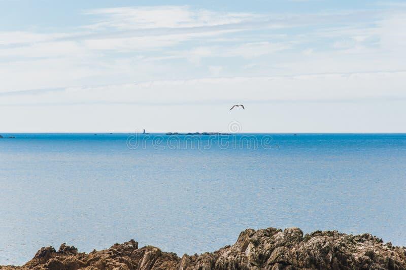 Pointe圣马蒂厄在普卢贡韦兰在Finistère 免版税库存图片