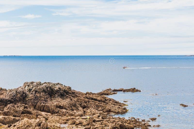 Pointe圣马蒂厄在普卢贡韦兰在Finistère 库存照片