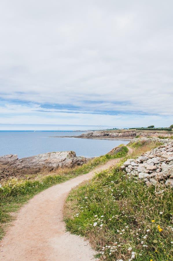 Pointe圣马蒂厄在普卢贡韦兰在Finistère 库存图片