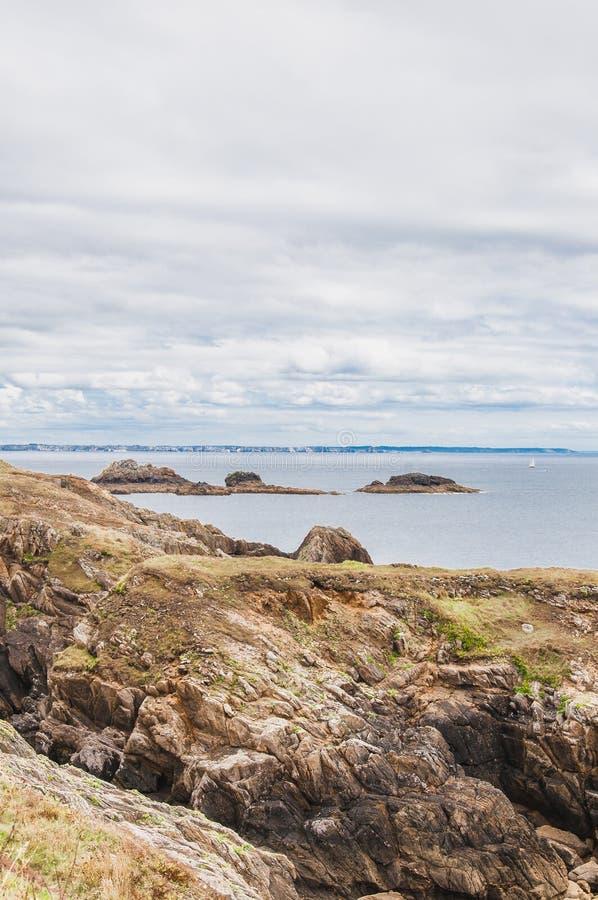 Pointe圣马蒂厄在普卢贡韦兰在Finistère 免版税库存照片