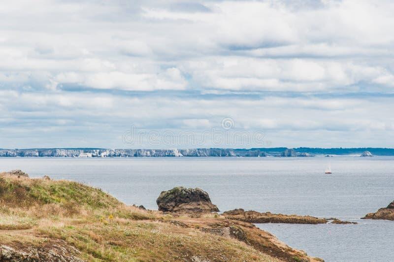 Pointe圣马蒂厄在普卢贡韦兰在Finistère 图库摄影