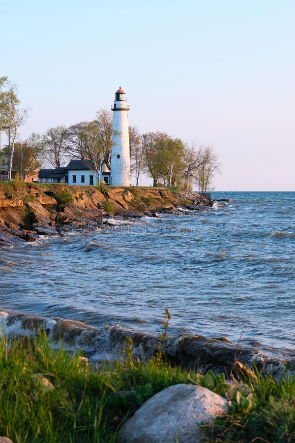 Pointe aux Barques Lighthouse, built in 1848. Lake Huron, Michigan, USA royalty free stock photos